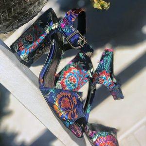Anthropologie Chio Navy Brocade Black Heels